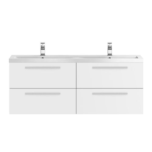 Hudson Reed Quartet White Gloss 1440mm Wall Hung Unit & Basin